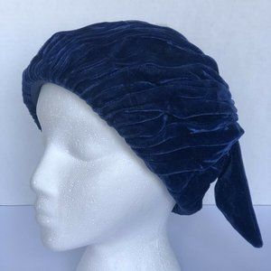 Vtg Saks Fifth Avenue Blue Velvet 1930s Turban Hat